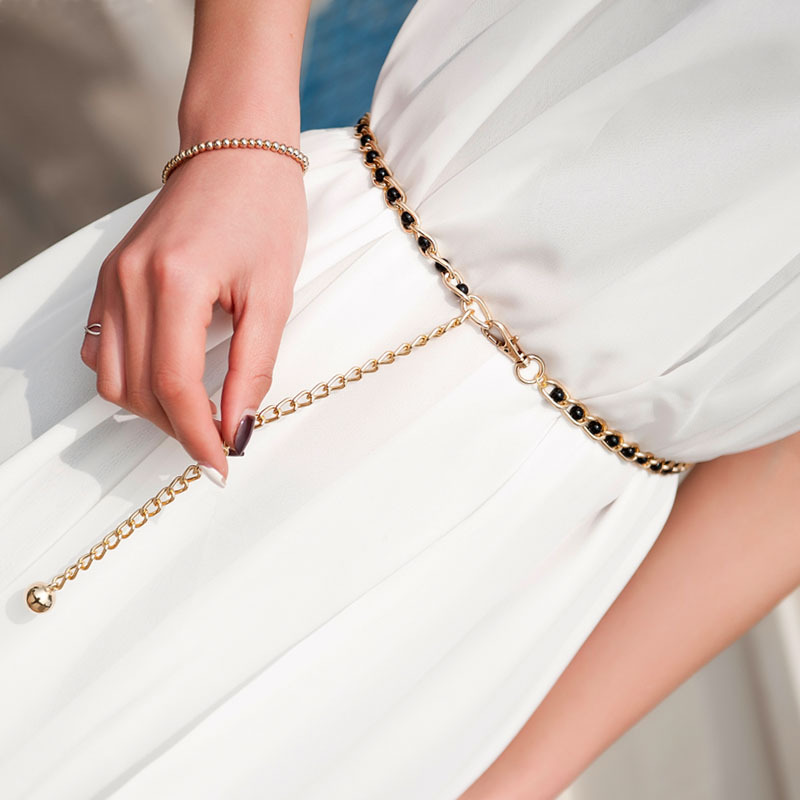 2019 Belt No Buckle Fashion Women's Dress Waist Chain Metal Chain Pearl Color Multicolor Pearl Thin Belt
