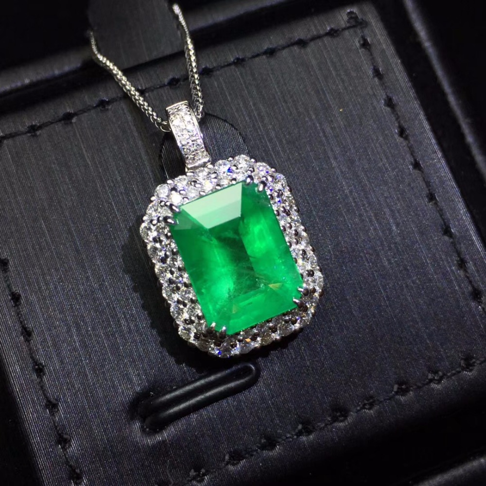 Fine Jewelry AIGS Certificate Real 18K White Gold AU750 Natural Green Emerald 4.31ct Gemstones Pendants for Women Fine NecklaceFine Jewelry AIGS Certificate Real 18K White Gold AU750 Natural Green Emerald 4.31ct Gemstones Pendants for Women Fine Necklace