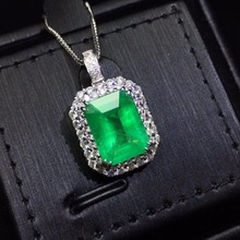 Fine Jewelry AIGS Certificate Real 18K White Gold AU750 Natural Green Emerald 4.31ct Gemstones Pendants for Women Necklace