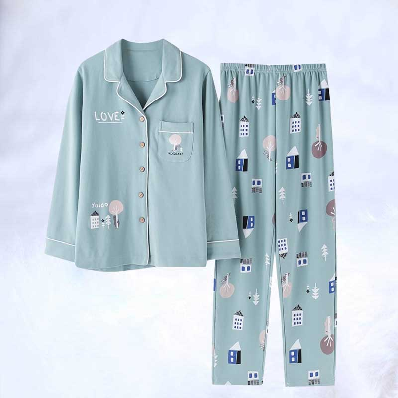 New Women Long Sleeve Sleepwear Pajamas Suit Sexy Cotton Pajamas Set Female Two Piece Sleepwear Lounge Underwear