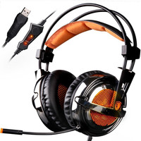 SADES A6 Plus USB 7 1 Channel Vibration Gaming Headset Over Ear Headphones With Microphone Led