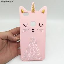 Pink Cartoon Beard Cat Case For Huawei P8 Lite 2017 Cute Silicone Cover Soft Coque P10 Capa P Smart