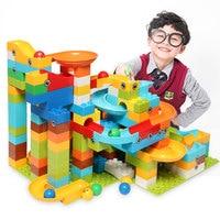 Newest 200PCS/97PCS Marble Run Maze Ball Plastic Building Blocks Funnel Slide Big Size Bricks Compatible LegoINGly Duploe Block