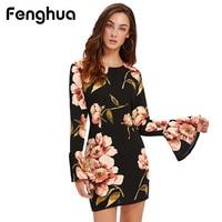 Fenghua Fashion Print Autumn Winter Dress Women 2017 Casual Office Flare Sleeves Dress Female Elegant Bodycon