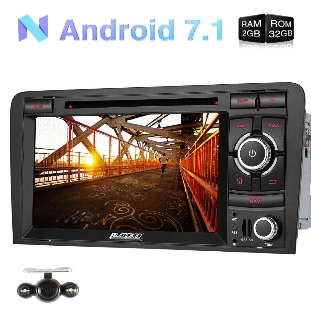 Pumpkin 2 Din Android 7.1 Car Multimedia DVD Player For Audi A3 GPS Navigation Bluetooth Car Stereo FM Rds Radio USB 3G Headunit