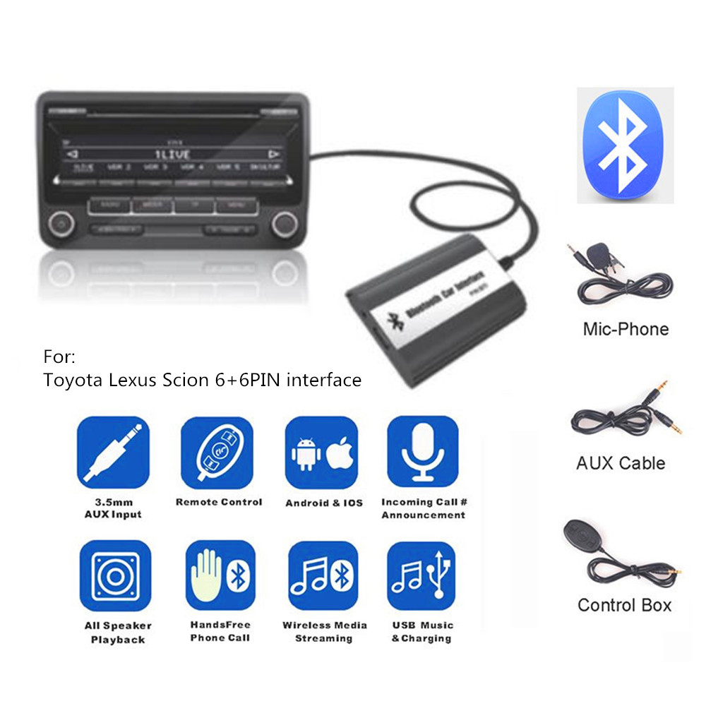 DOXINGYE Car AUX USB Bluetooth Radio Digital CD Changer Adapter Music Bluetooth Handsfree Kit For Toyota Lexus Series 6 + 6 PIN-in Cables, Adapters & Sockets from Automobiles & Motorcycles    1