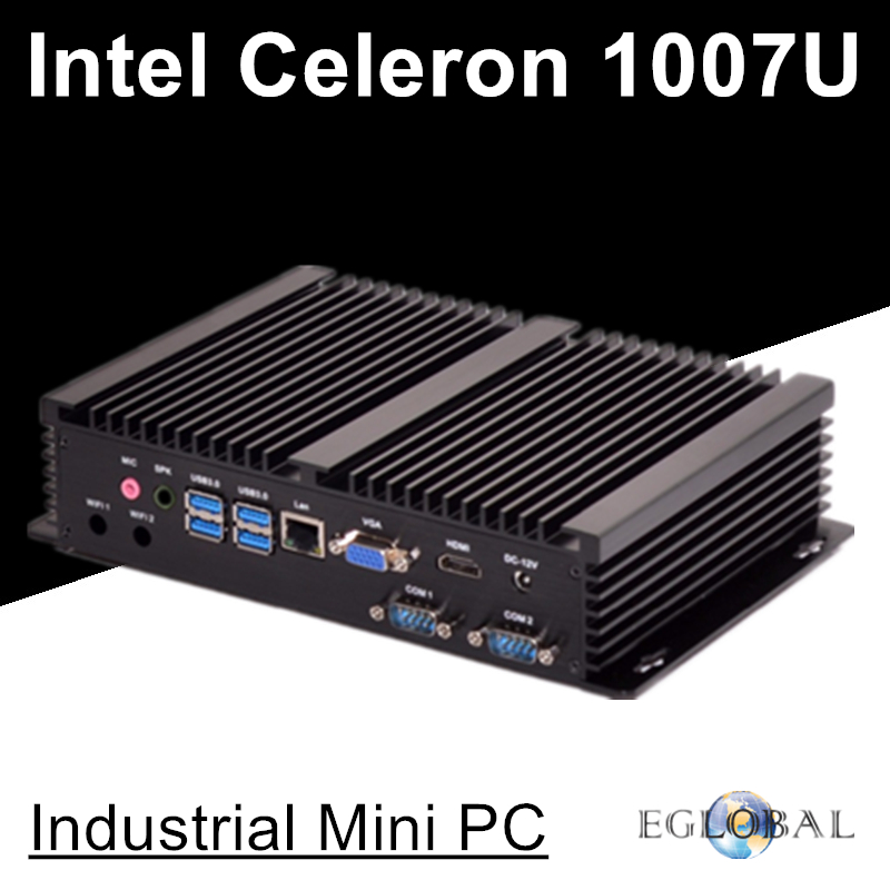 Fanless Industiral Mini PC Linux Windows XP Aluminum Rugged Computer Celeron 1007U 1.5GHz Dual Core 1*Lans 2*RS232 COM HDMI+VGA
