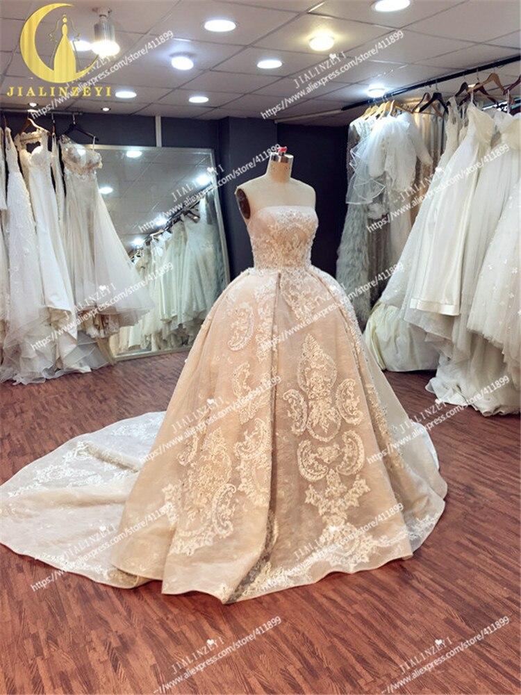 JIALINZEYI Sexy luxueux sans bretelles nu mode dentelle robe de bal Court Train elie saab mariée robes de mariée robe de mariée 2019 - 2
