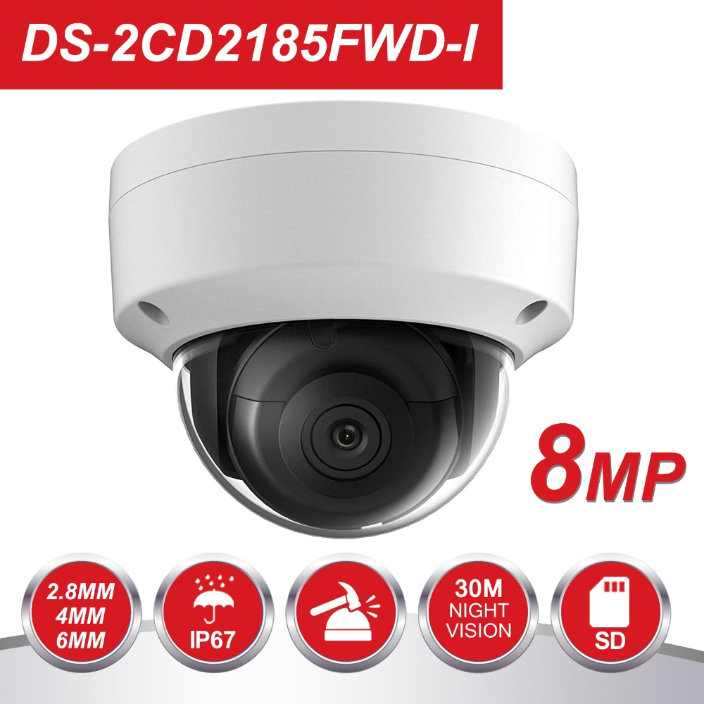 HIK English version 8MP POE IP Camera DS-2CD2185FWD-I Outdoor HD 8 Megapixel Network IR Security Dome Camera H.265+ SD Card SotHIK English version 8MP POE IP Camera DS-2CD2185FWD-I Outdoor HD 8 Megapixel Network IR Security Dome Camera H.265+ SD Card Sot