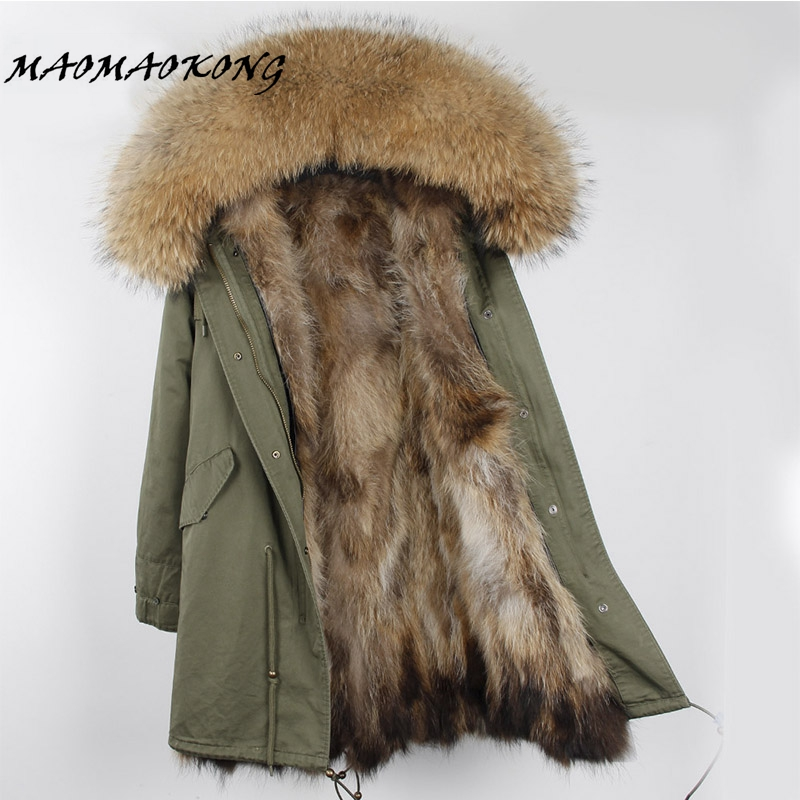 Brand Winter Jacket Women 2017 Long Real Fox Fur Coat Female Warm Fur Jackets Natural Raccoon Fur Collar Real Fur Lined Parka mitilary green fox fur jacket for women long style fur jacket 2016 winter warm padded coat