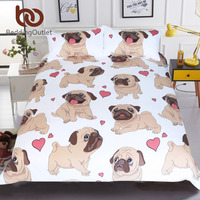 BeddingOutlet Hippie Pug Bedding Set Queen Size Animal Cartoon Bed Set For Kids Cute Bulldog Print