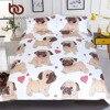 BeddingOutlet Hippie Pug Bedding Set Queen Size Animal Cartoon Bed Set For Kids Cute Bulldog Print