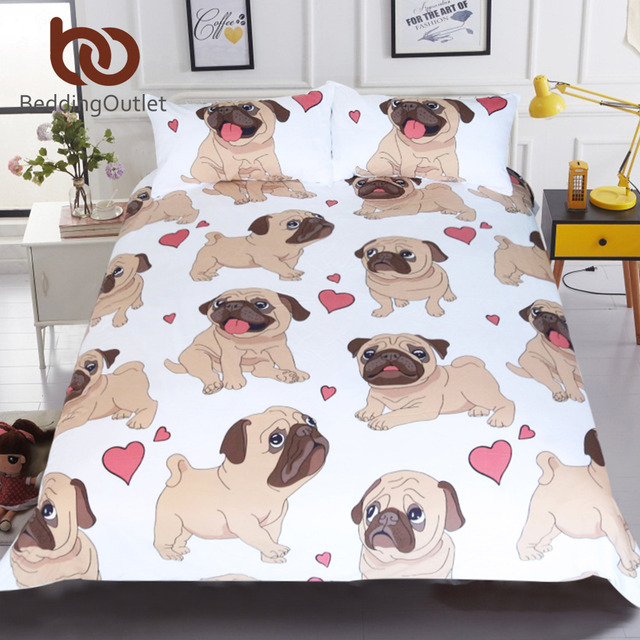 BeddingOutlet Hippie Pug Biancheria Da Letto Set Queen Formato Animale Del Fumet