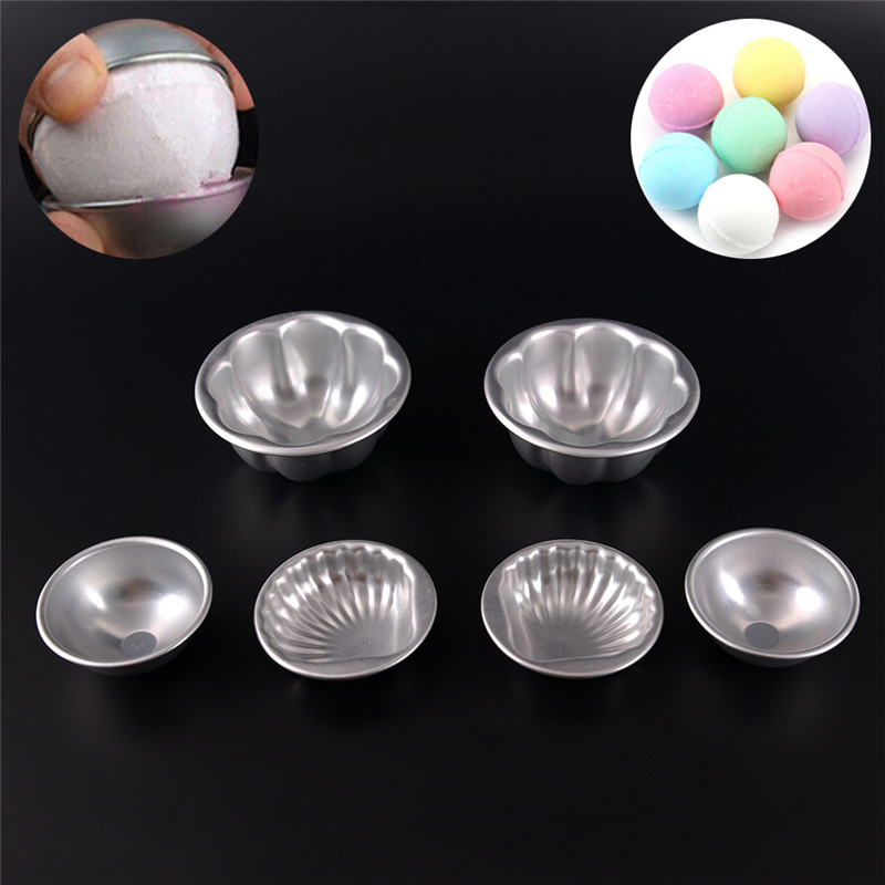6pcs Silver Bath Bomb Molds Aluminum Alloy Ball Sphere Bath Bomb Mold Cake Baking Pastry Mould