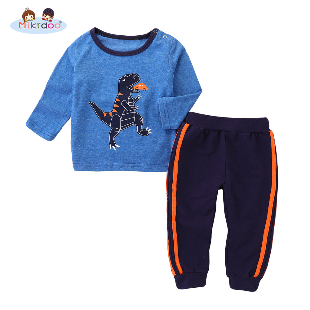 Kids Toddler Baby Boys Autumn Style Clothes set Blue Dinosaur Print Long Sleeve Top Pant 2PCS Outfit Cotton Clothing
