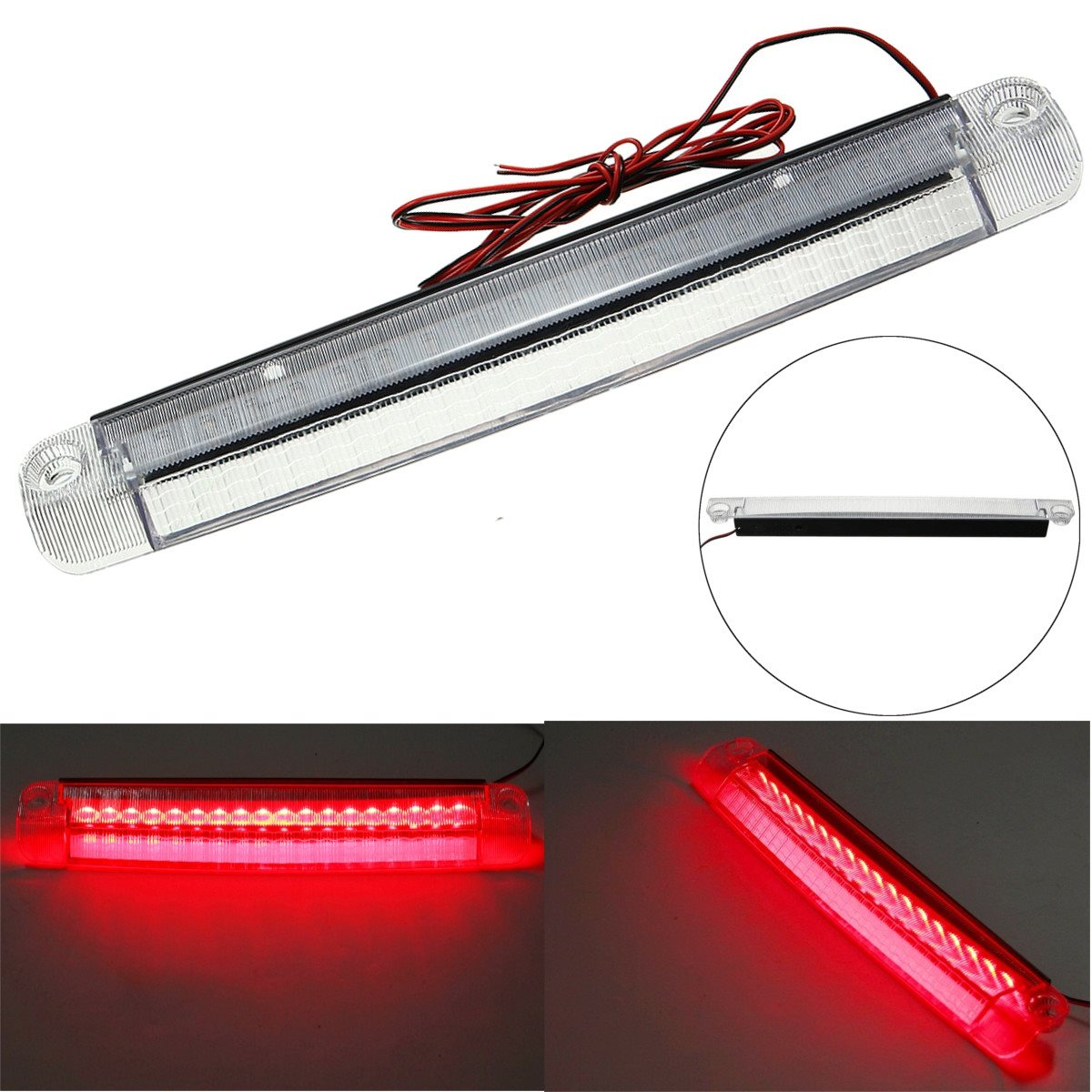 Unverisal 12V 5W Car 18 LED Car Reversing Lights Rear Tail Third Brake Stop Light High Mount Lamp Red 1210