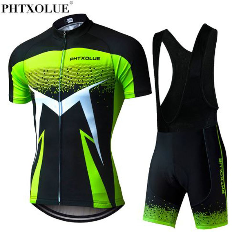 Phtxolue 2018 Summer Short Sleeve Men Cycling Clothing Breathable Bike Jerseys Set Mountain Bicycle Wear Maillot