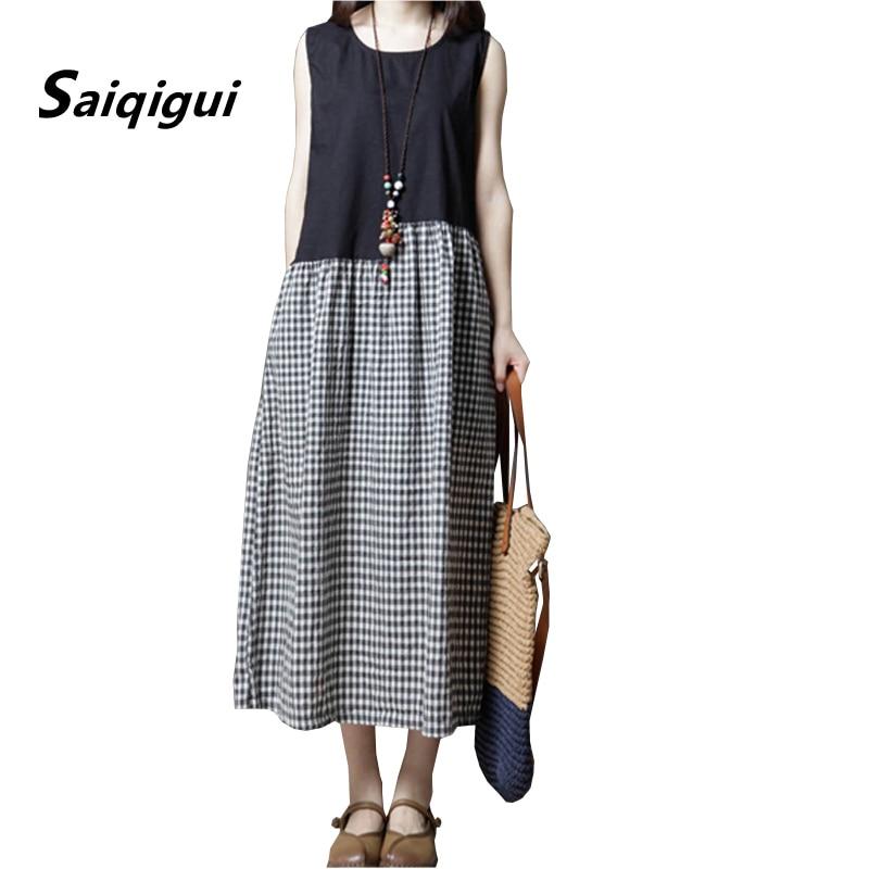 a2241ae7f059b60 Saiqigui 2019 летнее платье для женщин Китайский стиль sleevele's's  повседневные свободные в стиле пэтчворк на бретелях