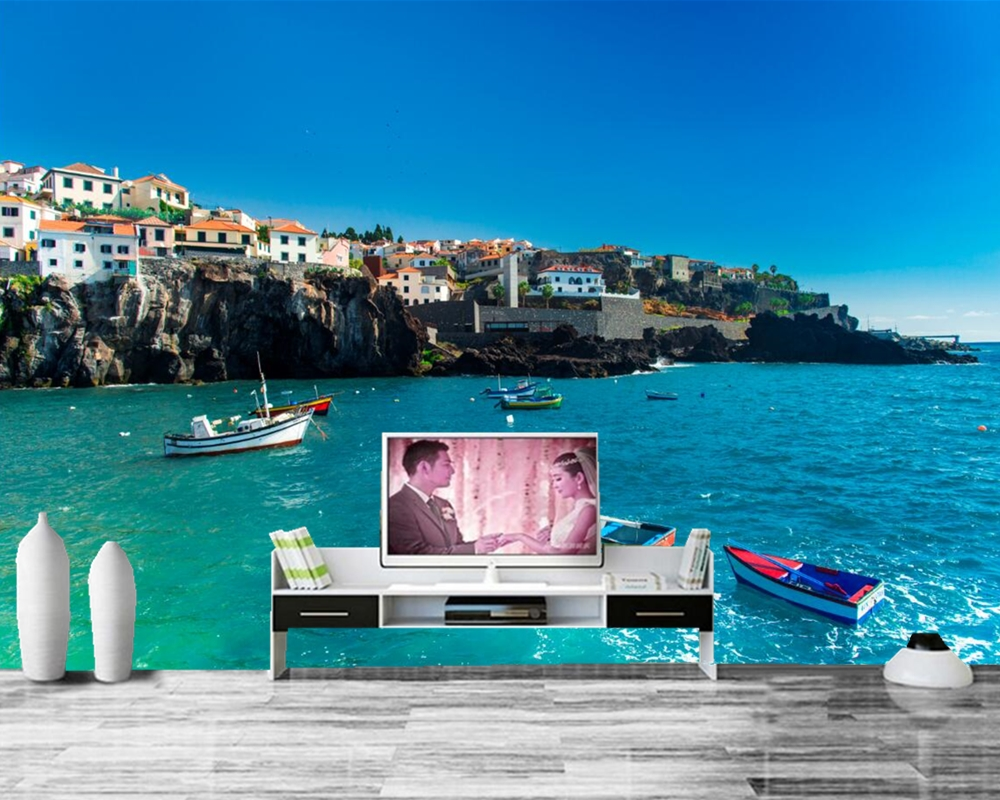 papel de parede Portugal Houses Sea Boats Coast City photo wallpaper ,living room tv sofa wall bedroom restaurant bar 3d mural tulips butterflies animals flowers wallpaper restaurant living room tv sofa wall bedroom 3d wall mural wallpaper papel de parede