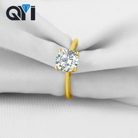 QYI Fine Jewelry Ring 14k Solid Yellow Gold Wedding Rings Valentines Gift 1.25 Carat Round Simulated Diamond Women