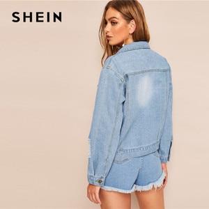 Image 2 - SHEIN ممزق تلاشى غسل غرزة التفاصيل الجينز سترة المرأة عادية واحدة الصدر الدنيم سترة الأزرق فضفاض السيدات جاكت كوري