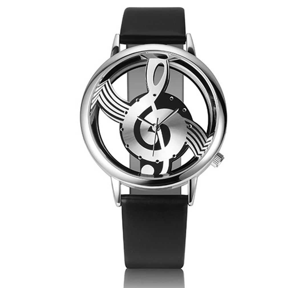 Fashion Trendy Women Watch Leather Strap Stylish Creative Music Note Dial Watch Casual Students Wristwatch