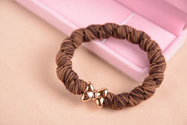 10 Pcs Hair Ties with Gold Plated Button