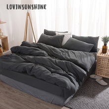 LOVINSUNSHINE Queen Bedding Set Cover Duvet Simple Solid Color 4pcs Luxury Sets AB#107