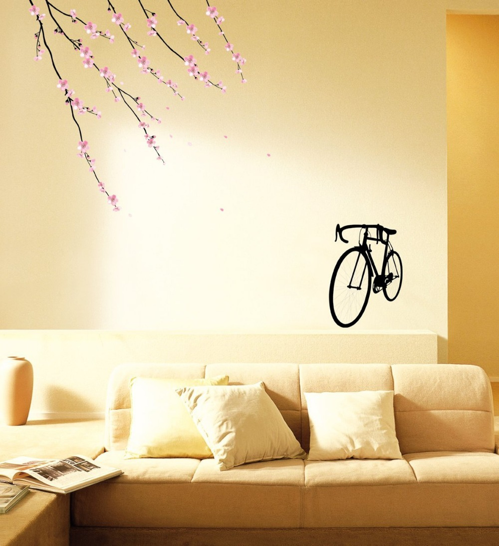 Perfect Sakura Blossoms Pink Bicycle DIY Art Removable 3rd color ...