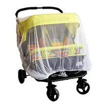 Newborn Twin Stroller Mosquito Net Baby Buggy Pram Protector Fly Midge Insect Bug Cover Infants Twin Pushchair Net Bar(China)