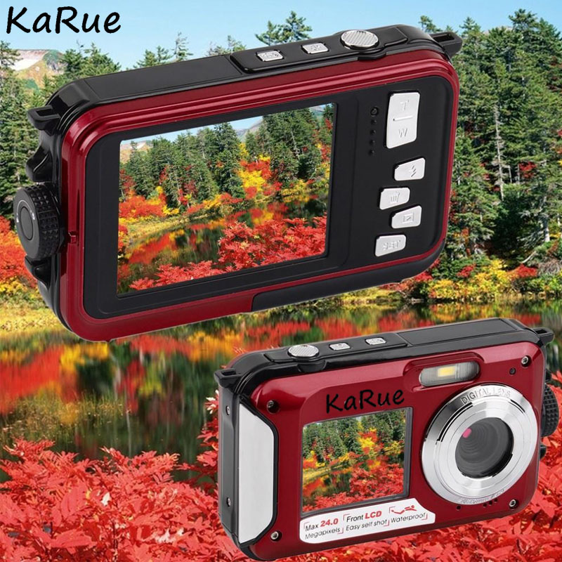 цена Karue H268 Screens Waterproof Digital Camera 2.7inch TFT Double Dual Screen Digital Camera Waterproof 24MP Max 16x Digital Zoom
