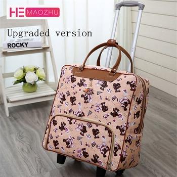 fa158807e9343 Yeni Sıcak Moda Kadın Arabası Bagaj Haddeleme Bavul Marka Casual Stripes  Haddeleme Durumda Tekerlekler üzerinde Çanta Seyahat Bagaj Bavul