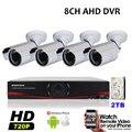8CH AHD DVR Kit 4 câmeras de vigilância de vídeo HD 720 P 1MP CCTV impermeável ao ar livre 1920 * 720 P sistema de câmera de segurança 2 TB HDD