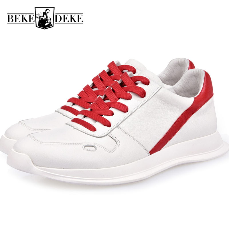 Genuino Hombres red La Casuales Cuero Hop Zapatos De Zapatillas Superior Black Hip Coreano Calle Hombre white Marca Calzado Nuevo Deporte Plataforma Para Los w71aC
