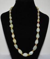 Jew3115 Nature Nephrite Hetian Jade Yellow Skin Pearls Necklace