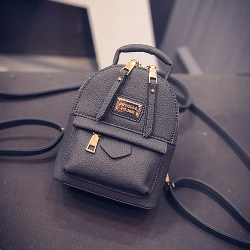 f8de2a196e Female Backpack Shoulder Bag Women Messenger Mini Small Backpack College  Wind Pu Leather Simple Retro Leisure Black Bag Hot Sale-in Backpacks from  Luggage ...