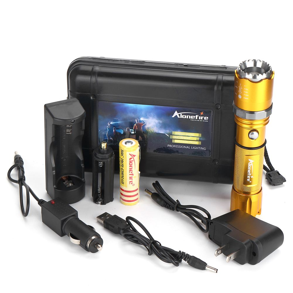 ALONEFIRE 1set X22 CREE XPE Q5 LED Rotate Zoomable Attack head LED Flashlight Torch with battery USB charger accessories 5000lumnes usb cree xpe led flashlight zoomable flashlight torch flash light lamp lighting with usb charger battery