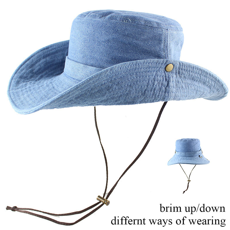 c875914a99c 100% Cotton Summer Wide Brim Bucket Hat Denim Beach Hats Sun Hat Women  Men s Outdoors Foldable UV Protection Fishing Caps Washed-in Bucket Hats  from Apparel ...