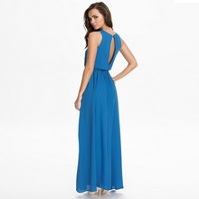 Women's 2017 New Beach Hot Blue Red Chiffon Plus Size O-Neck Backless Sexy Maxi Long S-5XL XXXL 4XL 5XL Summer Dress