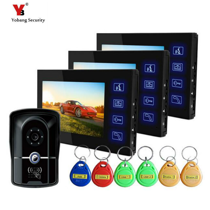 Yobang Security  Digital Video Doorbell RFID Doorphone Peephole Viewer 7 inch LCD Monitor Speakerphone video Intercom doorbell 7 inch video doorbell tft lcd hd screen wired video doorphone for villa one monitor with one metal outdoor unit night vision