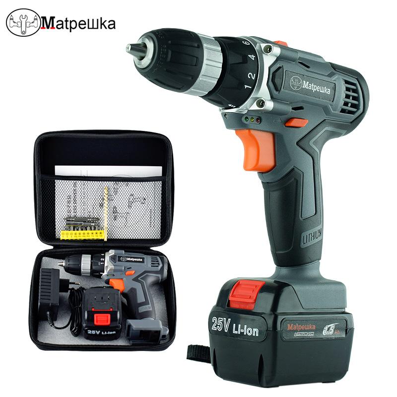 25V Electric Screwdriver Battery Electric Drill Adjust Household Variable Speed Rotary Power Tools+Cloth Bag Toolkit 1980w variable speed electric hammer drill with 33pcs accessories electric household tool drilling impact drill screwdriver