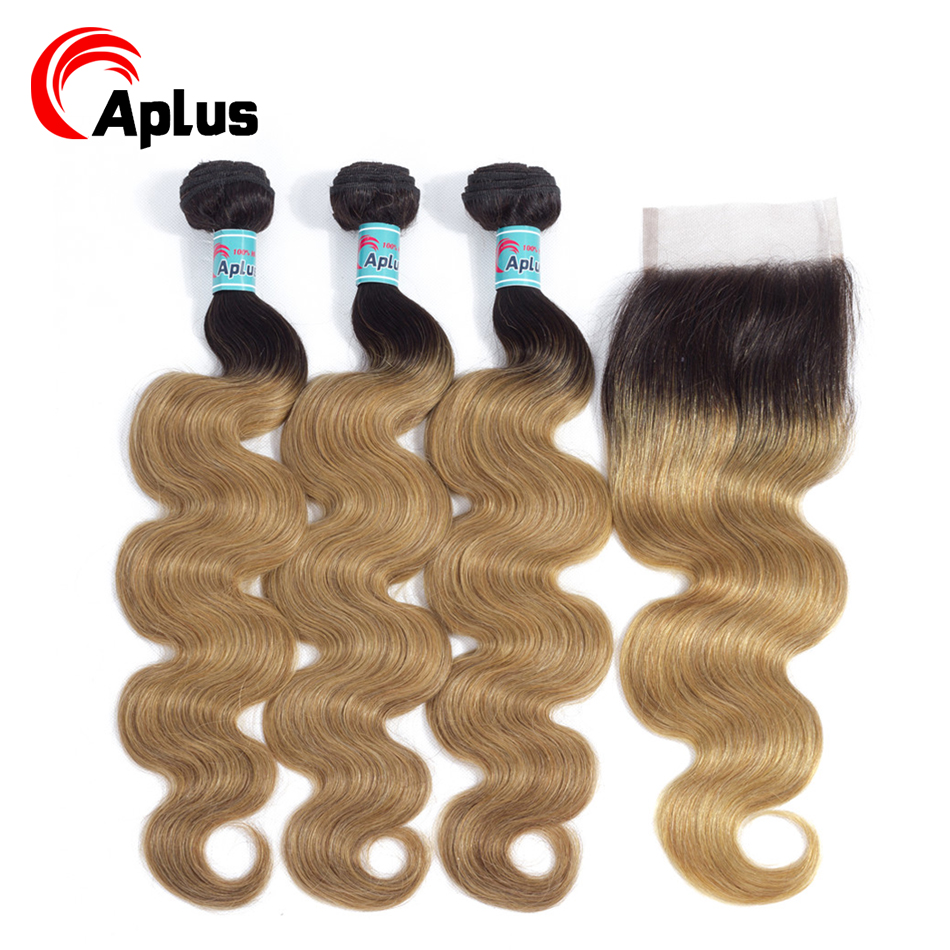 Aplus Hair Pre-colored Hair Weave 3 <font><b>Bundles</b></font> <font><b>With</b></font> <font><b>Closure</b></font> 4x4 <font><b>1B</b></font>/27 & <font><b>1b</b></font>/<font><b>30</b></font> Ombre Brazilian Body Wave Human Hair <font><b>Bundles</b></font> Non Remy image