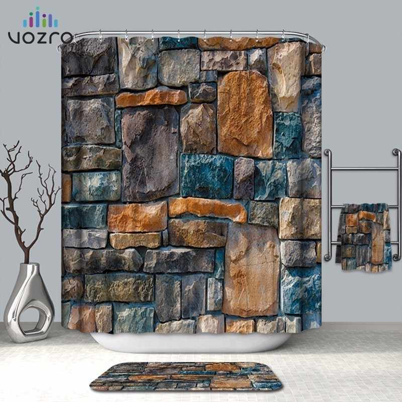 VOZRO Bathroom Shower Curtain Quality Natural Waterproof Polyester 2 M Cloth 3D Farm Decorative Wall Totem Simple Space Cortina