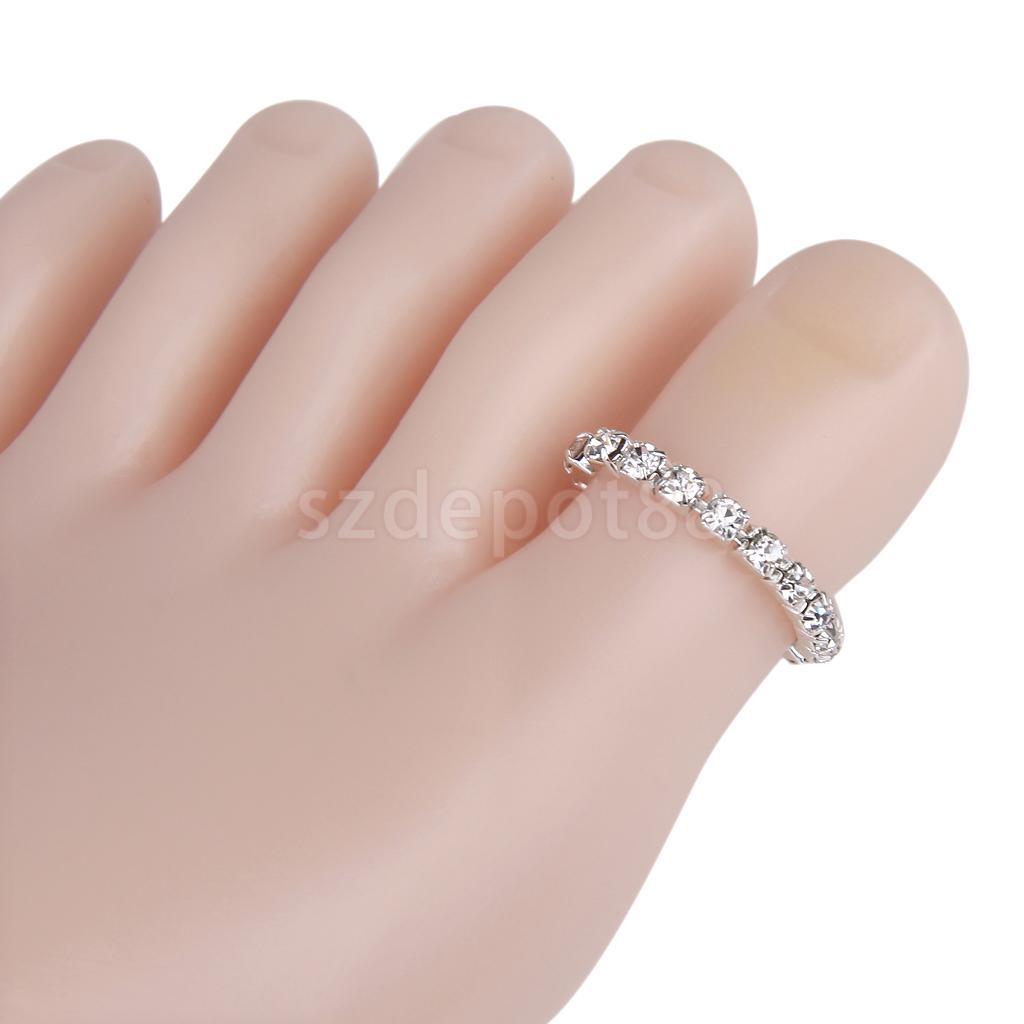 3 Pcs Elastic Silver Tone Single Row Crystal Rhinestone Toe Ring ...