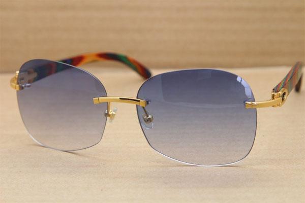 Wood Rimless Hot Women Sunglasses Peacock Glasses T8100907 New Sun gybYf76