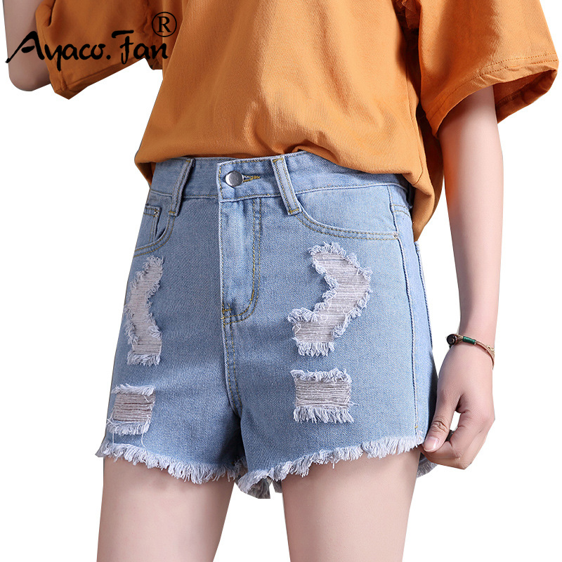 2020 Women Denim Shorts Vintage High Waist Ripped Straight Jeans Shorts Lady Girls Female Street Wear Sexy Shorts For Summer