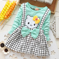 2016 primavera verano nueva kt carro de bebé girls dress de manga larga baby girl princess dress party kid ropa de bebé correa plaid dress