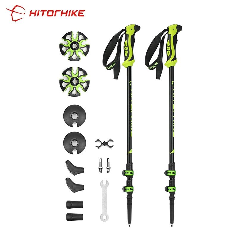 Hitorhike For Nordic Walking Sticks Camping Hiking Ultralight Adjustable Telescopic Alpenstock Trekking Pole Walking New Arrival