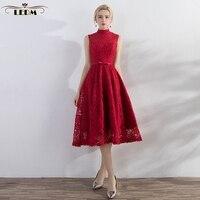 Derramar mariage Robe de demoiselles d honneur 2018 new lace alta pescoço Chá borgonha da dama de honra vestidos bonitos vestido madrinha