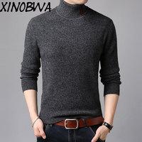 Новое поступление модные мужские зима водолазка тонкий 100% шерстяной вязаный свитер мужской сплошной плюс Размеры пуловер с длинными рукав